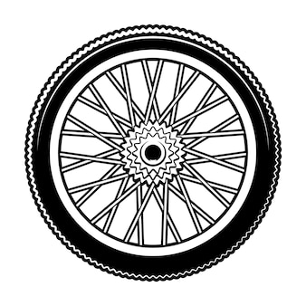 Black and white  illustration of bicycle wheel on white background