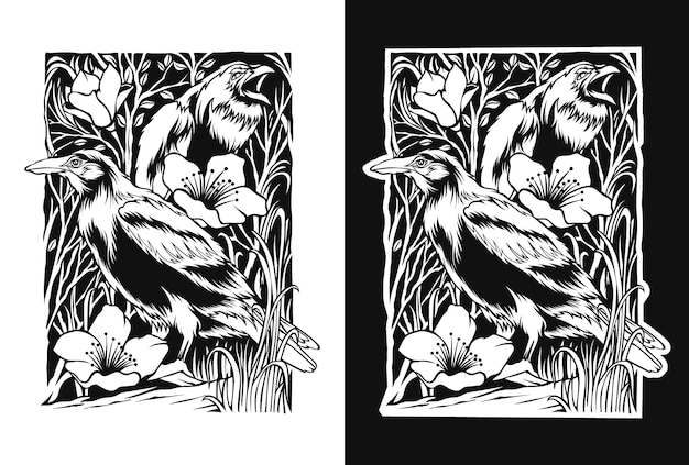 Black and white illustration of a bird for an adult coloring book