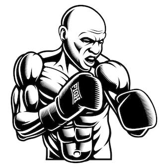 Black white illustration of box fighter,  on the dark background.