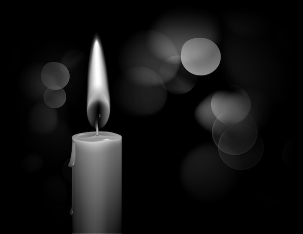 Black and white illustration of burning wax candle with flame on bokeh background