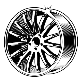 Black and white illustration of car disk,  on white background.