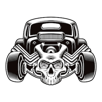 A black and white illustration of a cartoon hot rod with a skull isolated on white background.