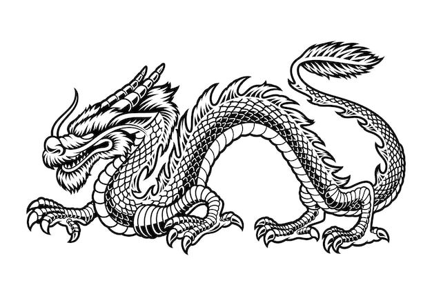 A black and white illustration of a chinese dragon, isolated on white background.