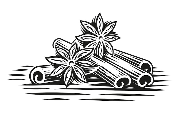 A black and white illustration of cinnamon sticks in engraving style on white background