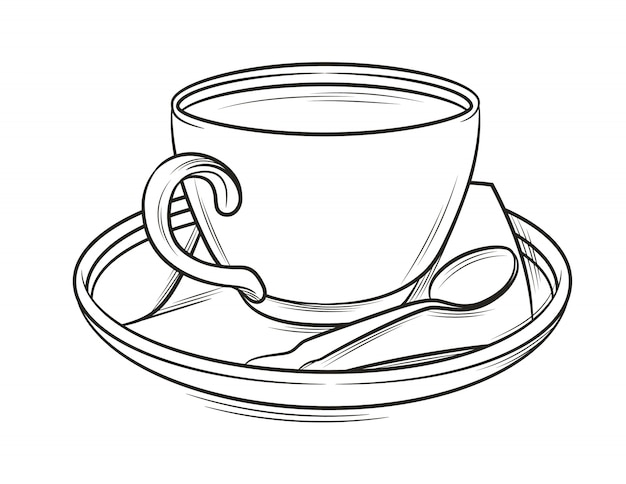 Black and white illustration of a coffee cup with plate and spoon