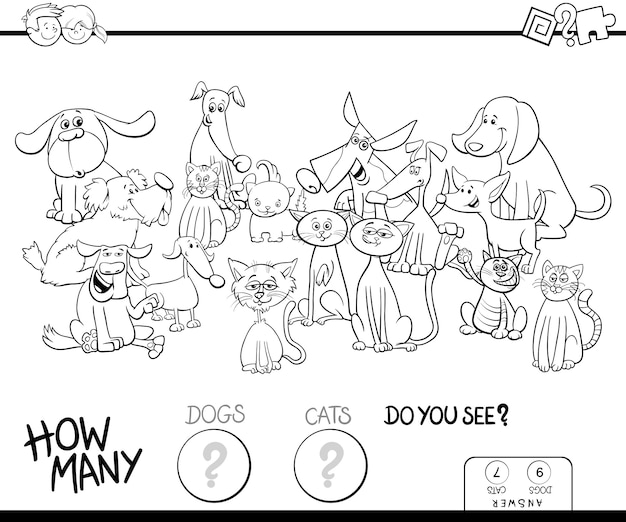 Black and white illustration of counting game for kids with cats and dogs
