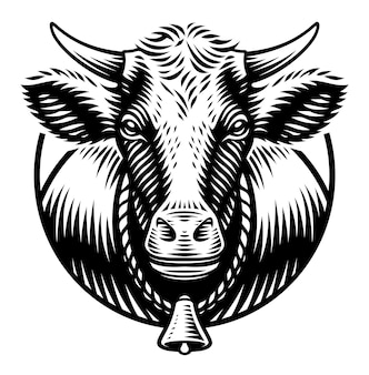 A black and white illustration of a cow in engraving style on white background