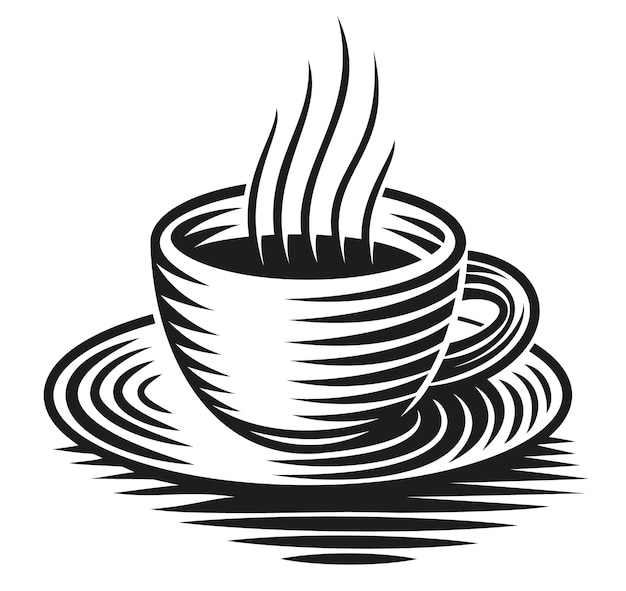 A black and white illustration of a cup of coffee isolated on white background