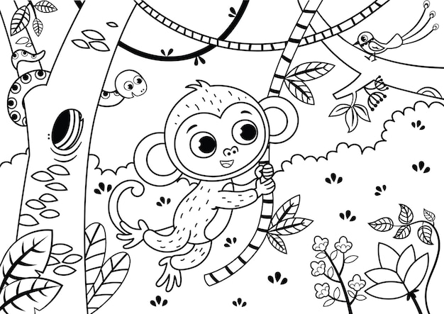 Black and white illustration of a cute monkey in the jungle vector illustration