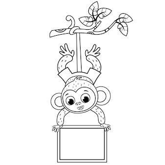 Black and white illustration of a cute monkey vector illustration