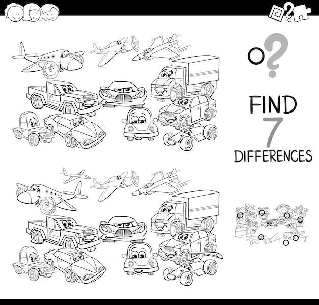 Black and white illustration of differences game