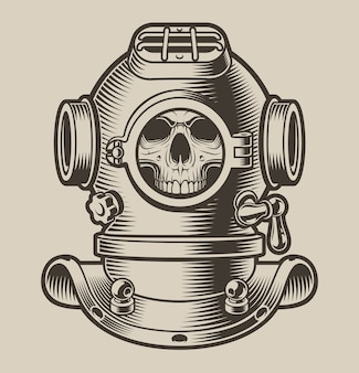 Black and white illustration of a diving helmet with a skull.