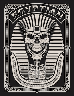Black and white illustration of an egyptian skull on the dark background
