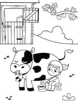 Black and white illustration of a farm girl coloring page for kids