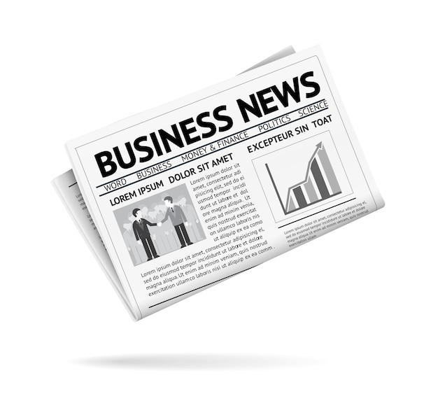 Black and white illustration of a folded newspaper presenting business news with two businessmen