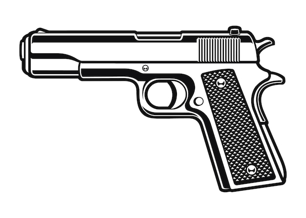 A black and white illustration of a gun