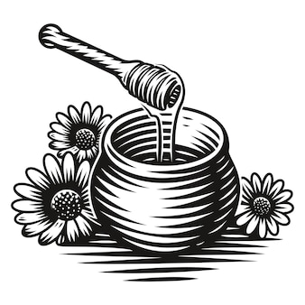 A black and white illustration of a honey pot in engraving style on white background