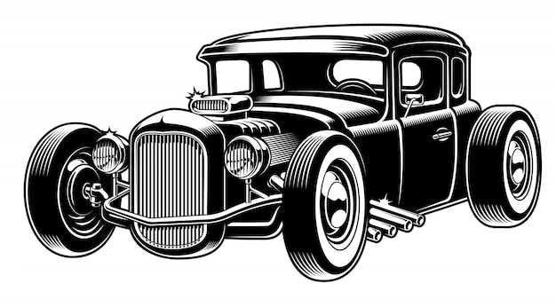 Black and white illustration of hot rod
