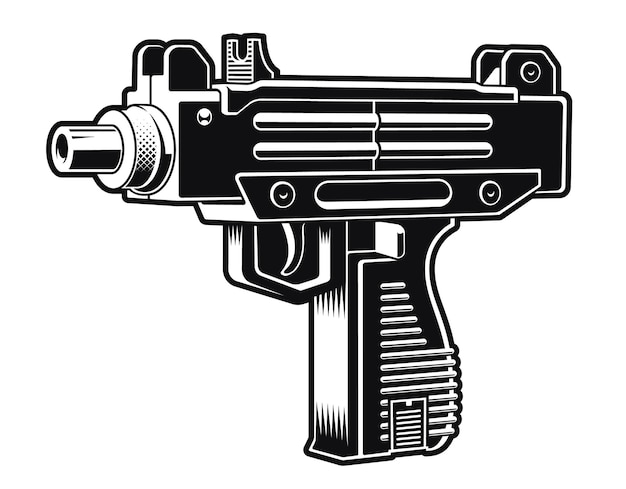 Black and white illustration of an israeli automatic pistol