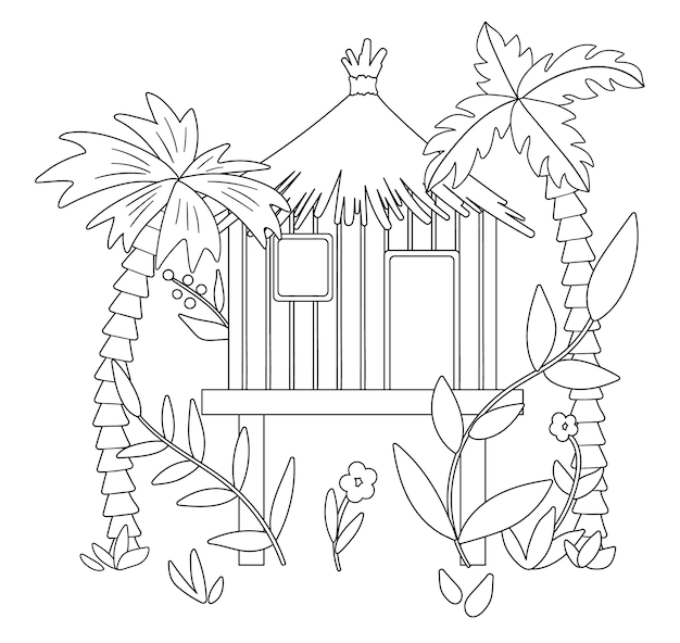 Black and white illustration of jungle hoot with palm trees and leaves. tropical bungalow on stilts sketch. cute funny exotic house in rainforest. fun coloring page for kids