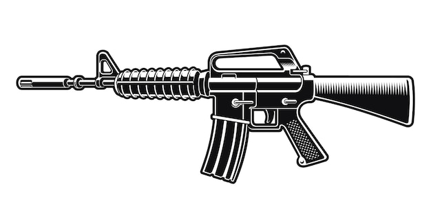 Black and white illustration of the m16 rifle isolated on white