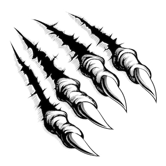 Black and white illustration of monster claws breaking through ripping tearing and scratching the wall.