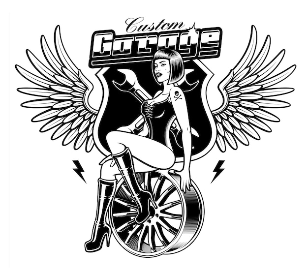 Black and white illustration of pin up girl on the car disk.