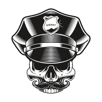 A black and white illustration of a policeman skull on white