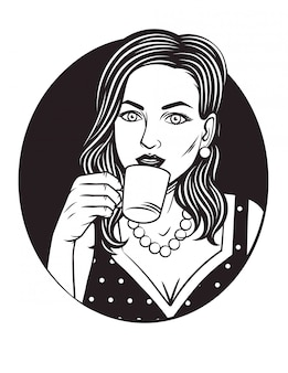 Black and white illustration of pretty woman with cup of coffee