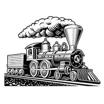 A black and white illustration of a retro train isolated on white background