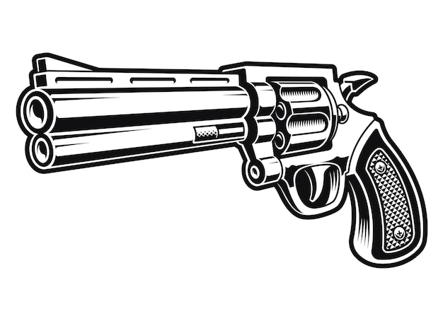 A black and white illustration of a revolver gun isolated on white