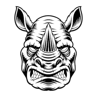A black and white illustration of a rhinoceros head, isolated on white background.