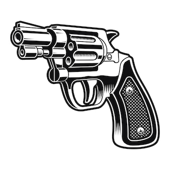 A black and white illustration of a short revolver gun on white