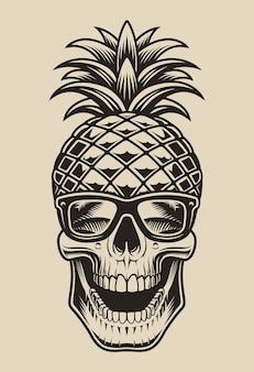 Black and white  illustration of a skull in the form of pineapple. this element  is perfect for shirt prints and many other uses as well.