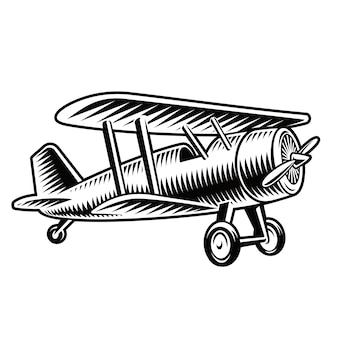 A black and white illustration of a vintage airplane isolated on white background.