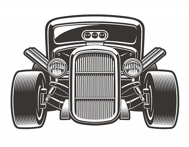Black-white  illustration of a vintage hot rod. the illustration has a white background, you can change the color, use it as a design element.