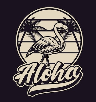 Black and white illustration with flamingo in vintage style. this  is perfect for logos, shirt prints and many other uses as well.