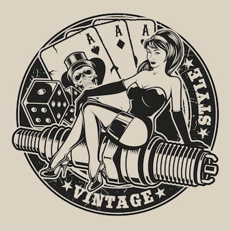 Black-white illustration with pin-up girl on a spark plug with dice and playing cards in vintage style. all elements and text are in a separate group.