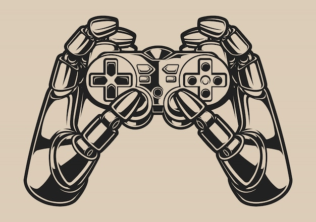 Black and white illustration with robot hand and game joystick on a white