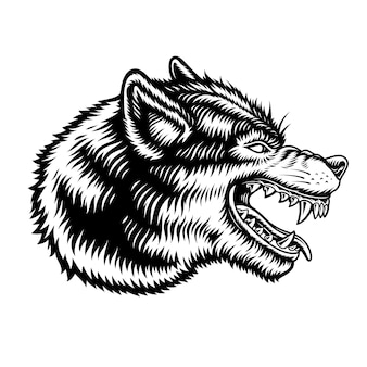 A black and white illustration of a wolf isolated on white background.