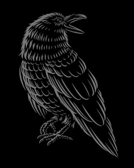 Black and white ilustration of raven on the dark background.