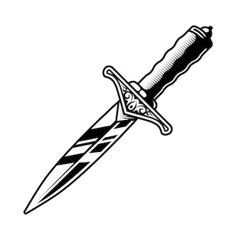 Black and white image of a small dagger. black outline.