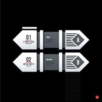 Infographic in bianco e nero con opzioni