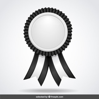Black and white label with ribbons