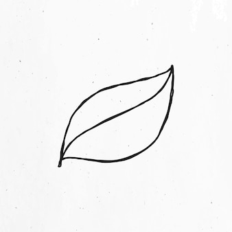 Black and white leaf vector clipart