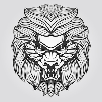 Black and white line of abstract lion