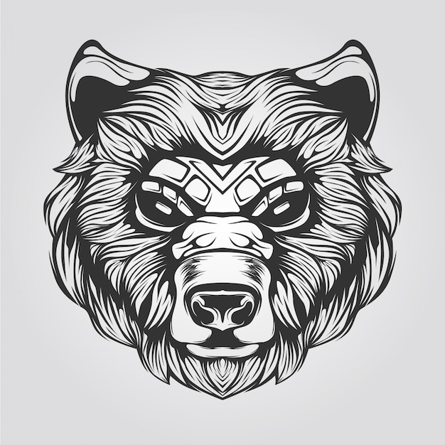 Black and white line art of bear