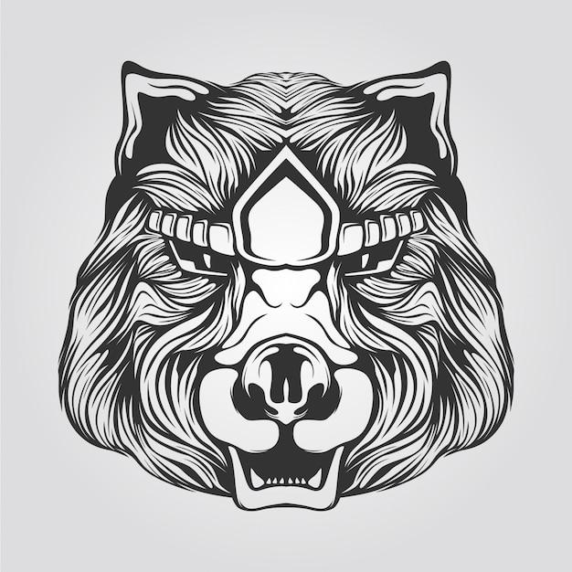 Black and white line art of bear