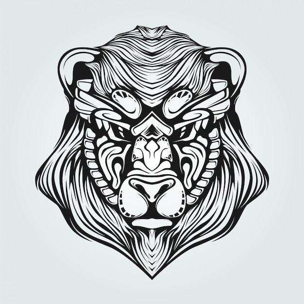 Black and white line art of bearwith decorative face