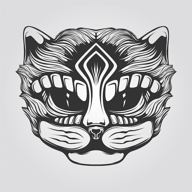 Black and white line art of cat